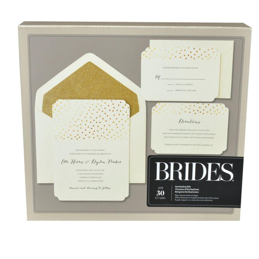 BRIDES Foil Invitation Kit Gold Glitter office depot wedding invitations BRIDES Foil Invitation Kit Gold Glitter Dot on White 5 7 Pack Of 30 by Office Depot OfficeMax