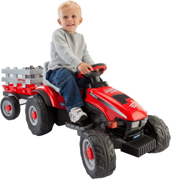 Ride On Toys   Toddler   Kids  Ride On Toys   Academy Peg Perego Case IH Lil Tractor and Trailer 6 V Ride On Vehicle