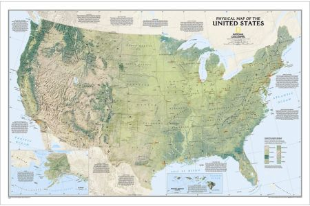 united states physical wall map national geographic store