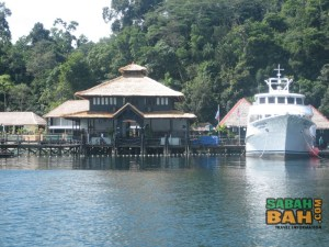 The reception at the jetty of the Gaya Island Eco Resort, Kota Kinabalu