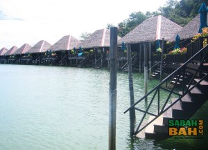 The stilted accommodation at Gaya Island Eco Resort in Kota Kinabalu