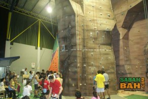 A crowd of regular climbers gather at the Sabah Indoor Climbing Centre
