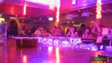 The bar counter under colourful lights at the Hyatt Regency Kinabalu Shenanigan's