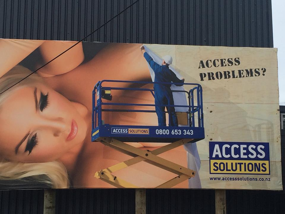 Access Solutions billboard, in Hataitai, Wellington. Image credit