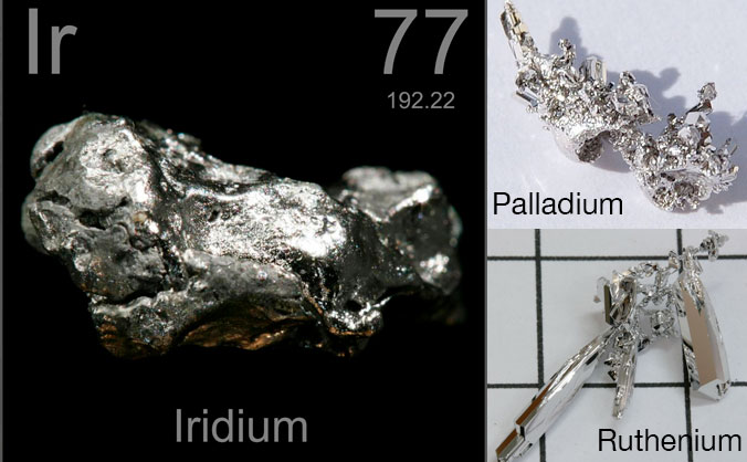 Among the materials delivered to Earth by comets and asteroids are the platinum group elements, which include iridium, ruthenium, rhodium, palladium and osmium. These metals have a variety of unique properties.