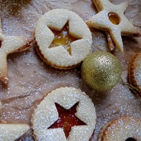 Almond sandwich cookies and warm Season's Greetings