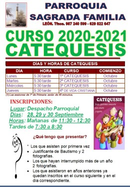 CALENDARIO CATEQUESIS 20-21