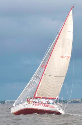 Sailing yacht Fancy Free beats on a port tack in Charlotte Harbor