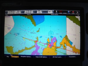 Here you can see the RADAR picture in pink - which should be over the yellow of the land! The difference is the error!
