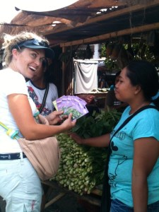 Audrey bartering at a market with packets of herbal seeds that the locals had never seen before!  Brilliant!