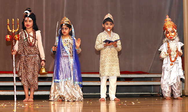 Children dressed as deities for Birthday drama