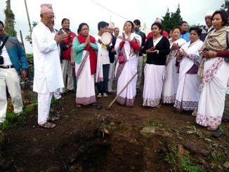 Invoking Bhagawan's blessings before laying the foundation stone