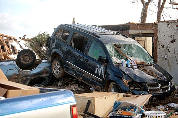 Automobiles thrown around in the tornado