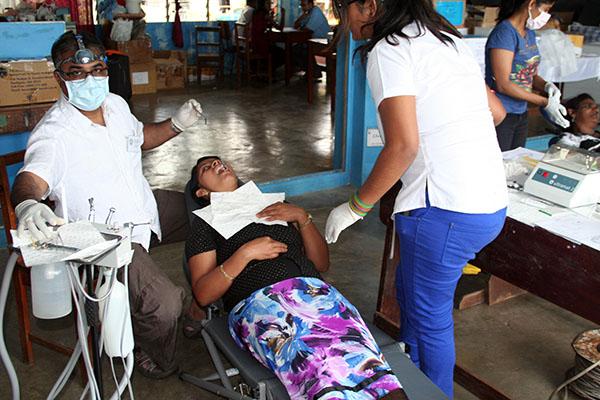Patient receiving dental services