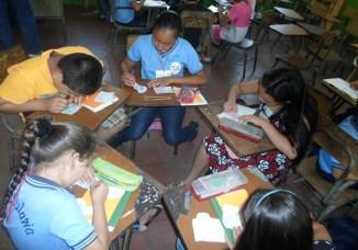 Children doing artwork at school