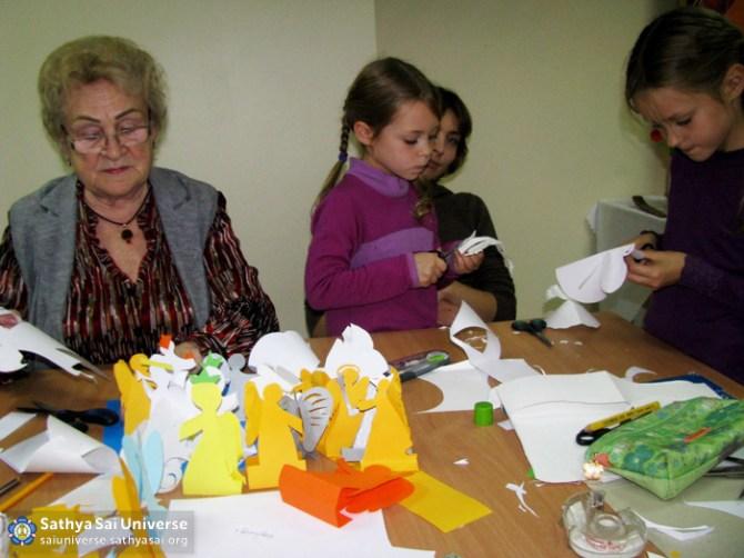 Preparing Paper Angels at Kaunas