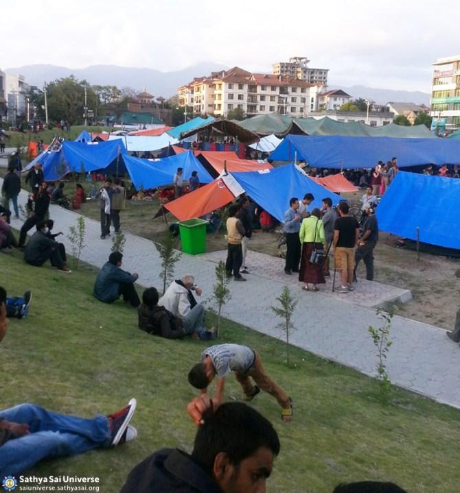 Tents in the Sai Centre compound