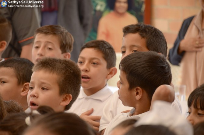 Inauguration of Sathya Sai School_  Boy students chanting the Colombia national anthem - Funza, Colombia, Zone 2B (Feb-27-2016) copy