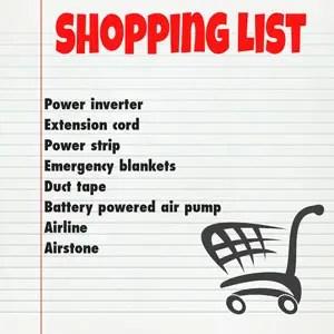 power failure shopping list