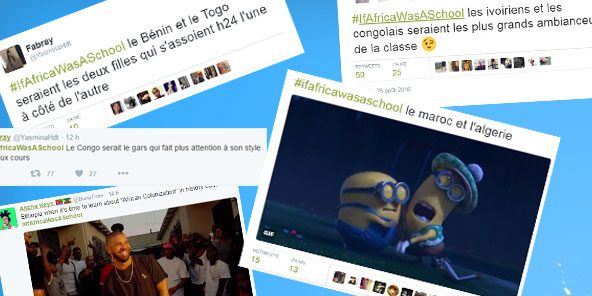Exemples de tweets mentionnant le hashtag #IfAfricaWasASchool. © Twitter/Montage J.A.