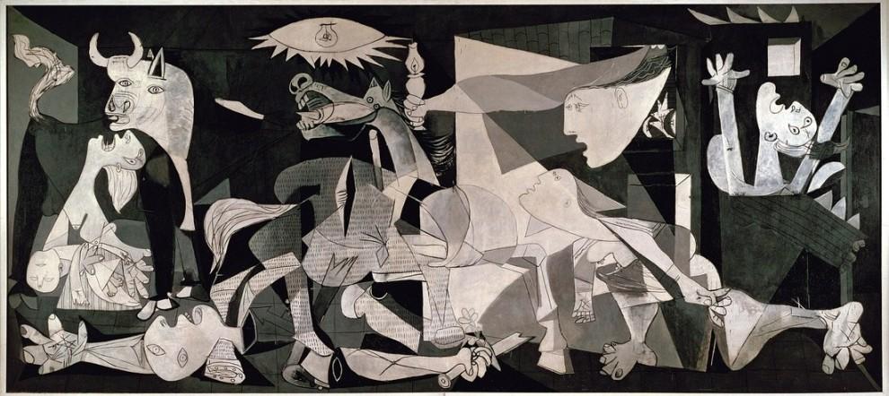 Peinte en 1937, cette fresque murale fut créée en réaction au bombardement de la ville espagnole de Guernica durant la guerre civile espagnole, qui se déroula entre 1936 et 1939. Le bombardement fut mené par des avions de guerre nazis et fascistes à la demande des nationalistes espagnols.