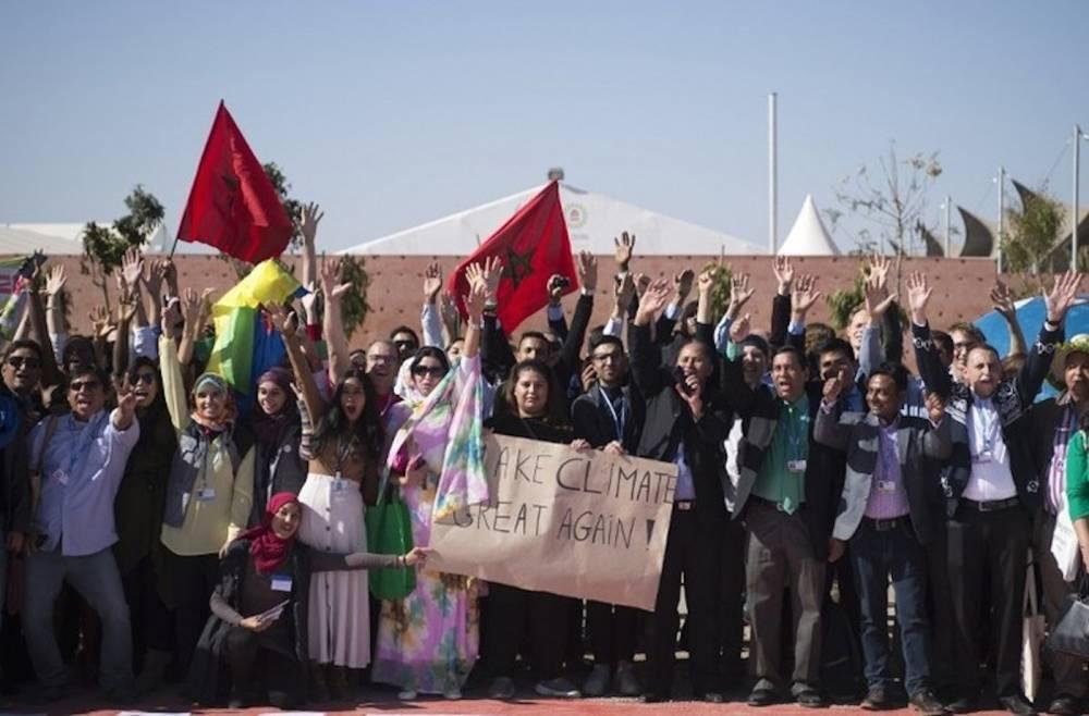 Des membres des délégations présentes à la COP22, le 18 novembre 2016 à Marrakech, lors de la clôture de la conférence sur le climat. © AFP-Fadel Senna