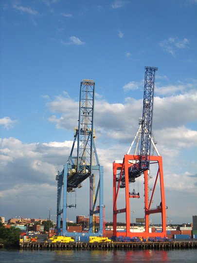 Large cranes outside of Red Hook