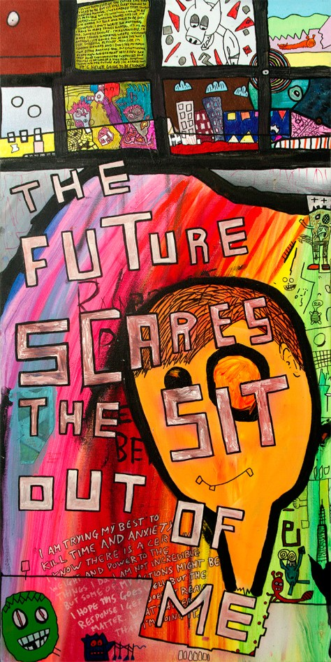 """""""The Future (Scares the Sit Out of Me)."""" 4/1/14. Acrylic and spray paints, with ink. 24x48""""."""