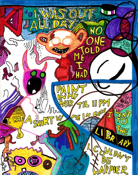 """""""Out All Day."""" 6/18/13. Marker and pen on canvas board. 8x10""""."""