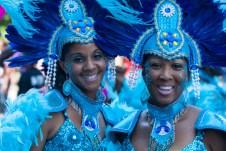 Carafiesta parade ladies in blue