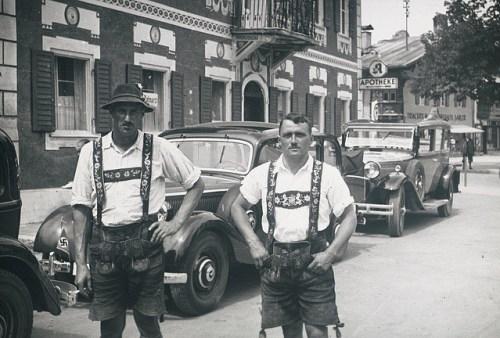 Traditional old lederhosen photo two men