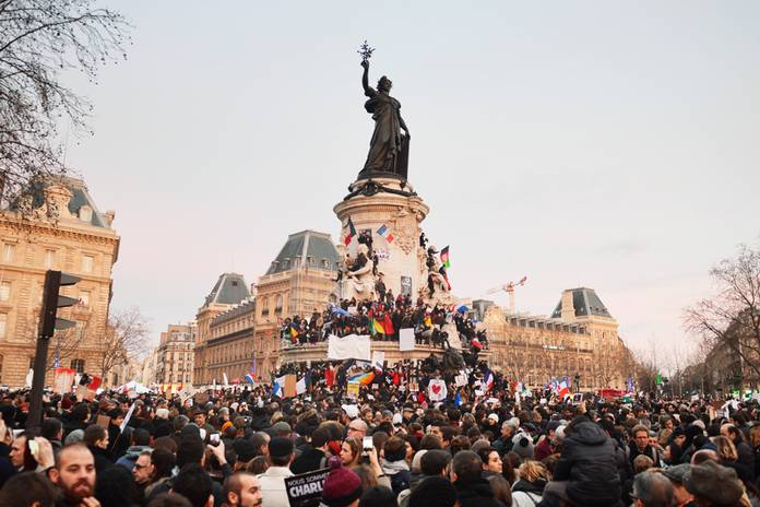 Bild från manifestationen i Paris, januari 2015.