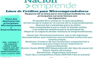 """Charla informativa """"Nación emprende: Línea de créditos para emprendedores"""