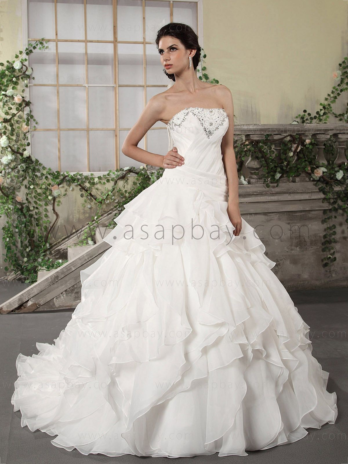 ivory strapless ball gown wedding dresses