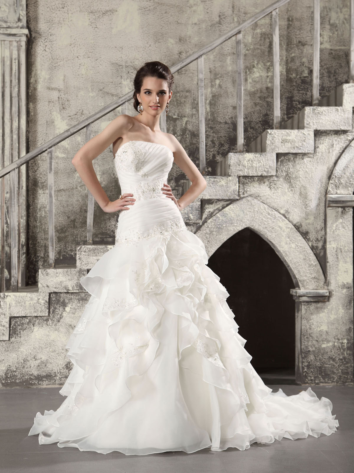 strapless organza fit and flare wedding dress with chapel