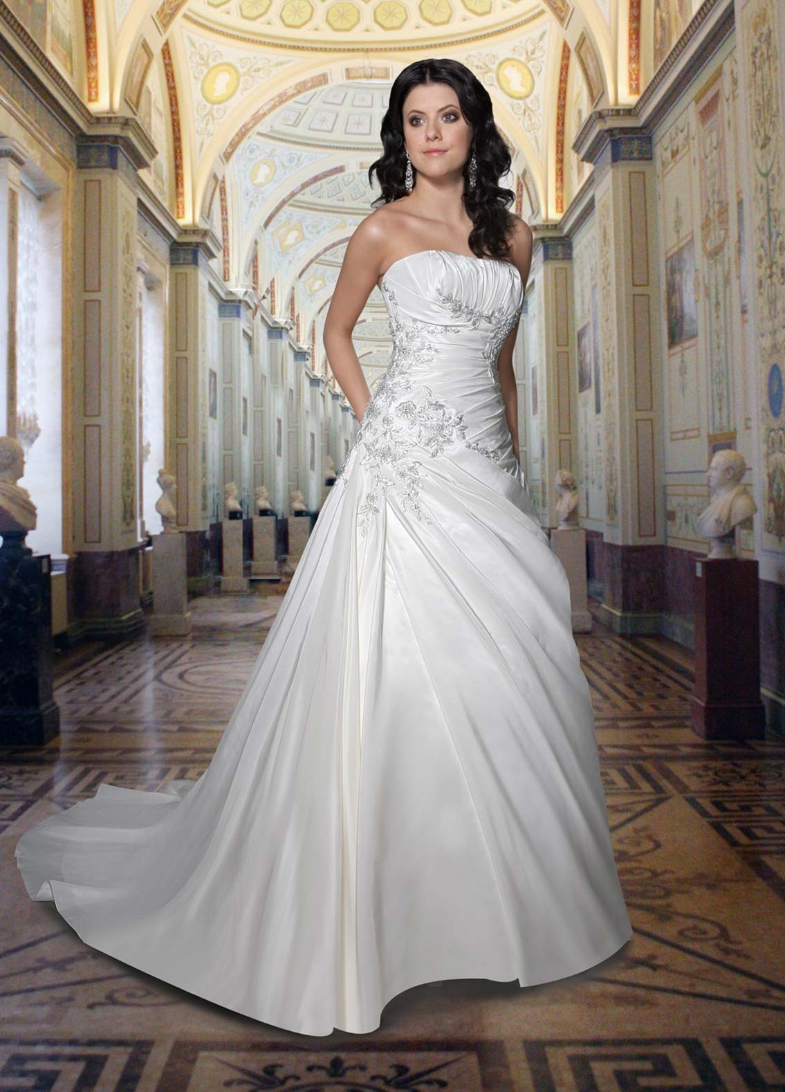 floor length strapless wedding dress with train