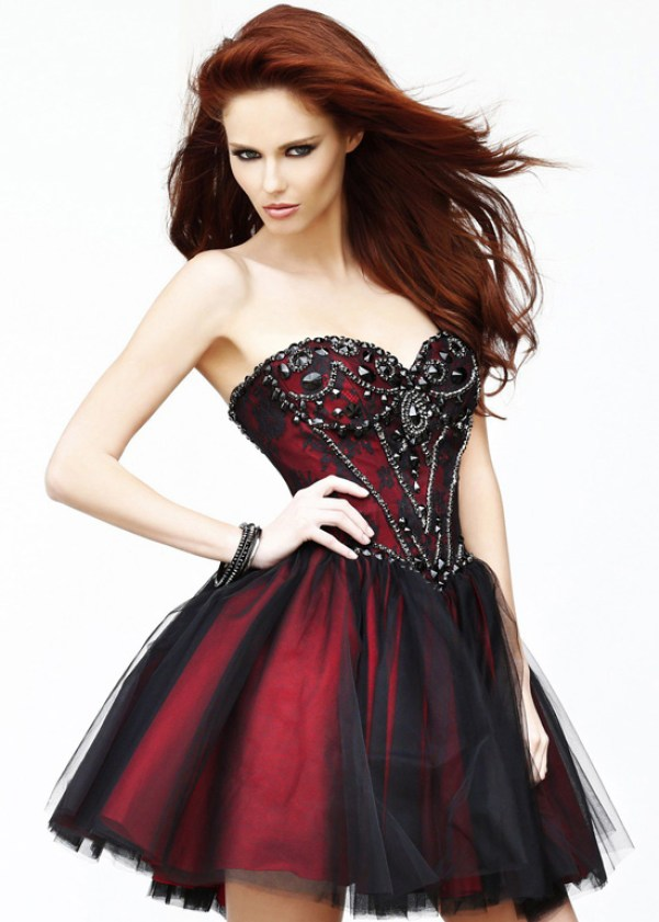 Sexy short red and black wedding dresses sangmaestro for Short red wedding dresses