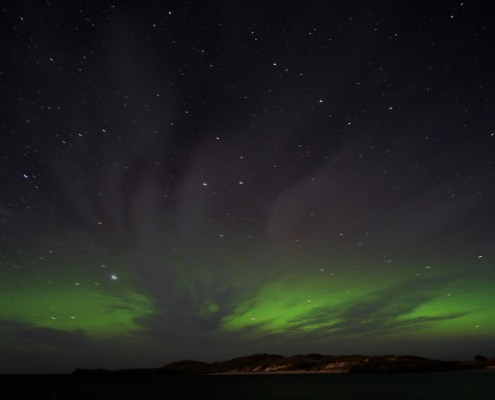 The Northern Lights as seen facing towards Orkney