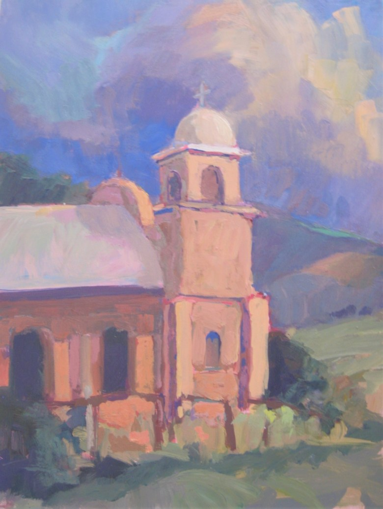 "Our Lady of Light, Oil, 16"" x 12""   The Our Lady of Light mission was constructed in 1889 in the railroad junction of Lamy, New Mexico.  Now under the care of an historical society, the chapel reflects the dignity and proportion of a moment when the Old West was still being settled."