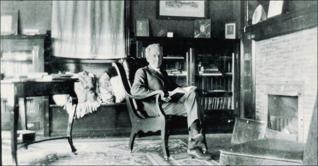 Luther Burbank in the library of his home on Tupper street, 1906