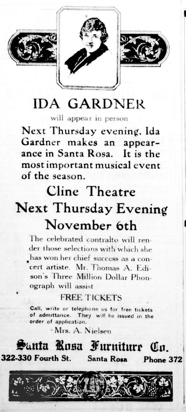 Press Democrat ad, October 30, 1919