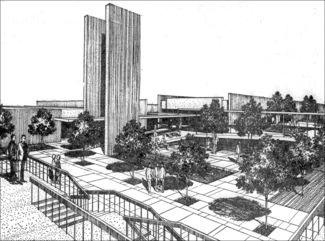 Drawing of the Santa Rosa Civic Center courtyard submitted by DeBrer, Bell, Heglund Assoc. of San Francisco