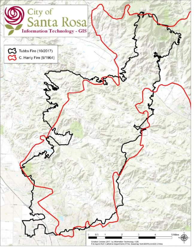Comparison of Hanly and Tubbs fires. Map courtesy city of Santa Rosa