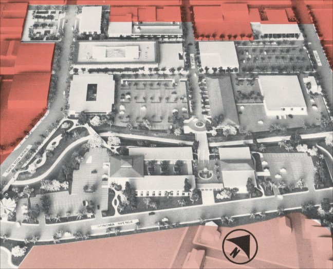 Santa Rosa redevelopment area model by Candeub, Fleissig and Associates of Newark, NJ. A detailed drawing can be seen below