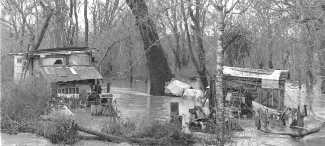 Sebastopol hobo jungle underwater during the 1940 storm. Photo: Sonoma County Library