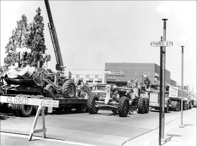 Construction equipment in the Courthouse Square street extension, 1966 or 1967. Photo at top and this one courtesy Sonoma County Library