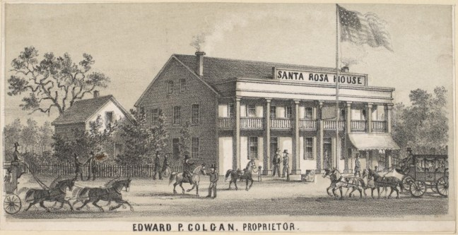 1862 drawing by Grafton Tyler Brown showing the east side of Main Street between First and Second, with John Richards' home and bath house on the left. The drawing, presumably commissioned by Colgan as part of a series on notable Santa Rosa businesses, exaggerates the size and position of the hotel, as maps show Richards' corner property occupied three parcels while Colgan had two