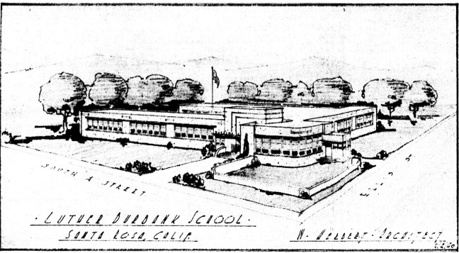 The 1940 design for Luther Burbank School, William Herbert architect