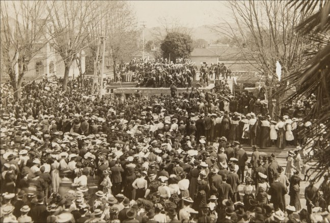 Dedication of cornerstone for Santa Rosa Carnegie Library, April 13, 1903. Photo courtesy Sonoma County Library