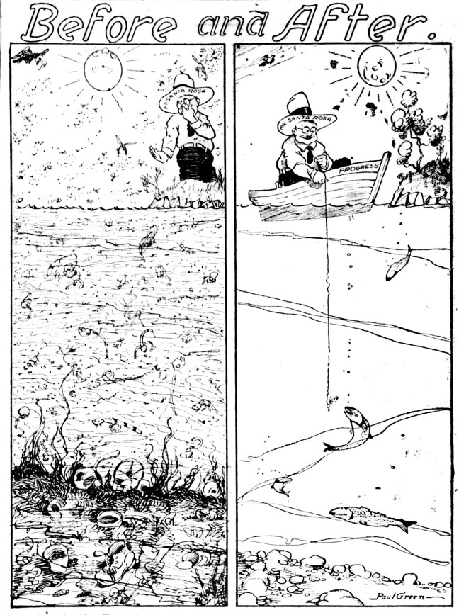 """Before and After"" cartoon by city engineers Frank Comstock and Paul Green. Press Democrat, February 8, 1924"